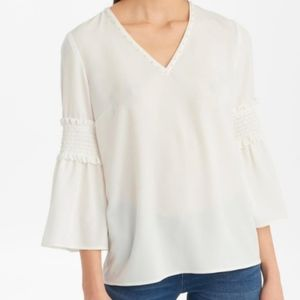 NWT Karl Lagerfeld Paris White Pearl Detail Blouse